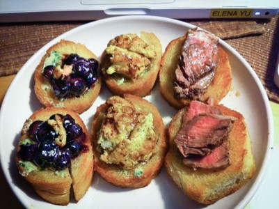Dara's Flank Steak Crostini with Blueberry Cayenne Honey for the On Camera Audition
