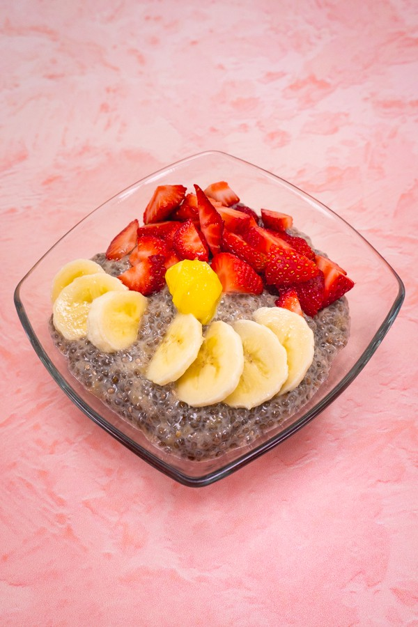 Banana Chia Seed Pudding with Fresh Strawberries, Bananas, and Lemon Curd