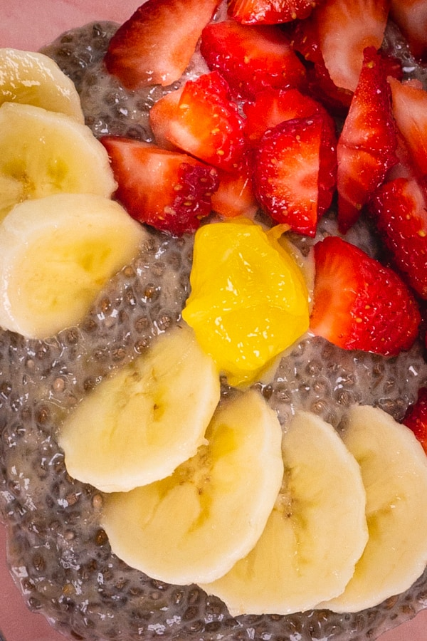 Close Up Banana Chia Seed Pudding